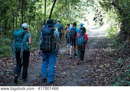A Group Of People Hike From Kalaw To Inle Lake, Myanmar