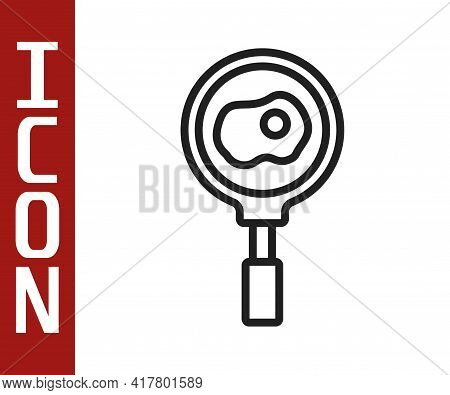 Black Line Fried Eggs On Frying Pan Icon Isolated On White Background. Fry Or Roast Food Symbol. Vec