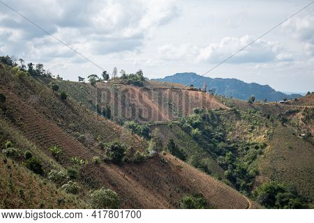 A Beautiful Hillside Along The Hike From Kalaw To Inle Lake