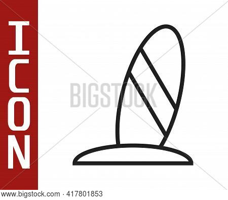 Black Line Surfboard Icon Isolated On White Background. Surfing Board. Extreme Sport. Sport Equipmen