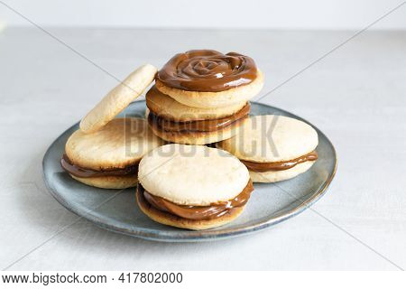 Alfahores Cookies With Condensed Milk On A Gray Plate. Traditional Homemade Biscuits. Homemade Food