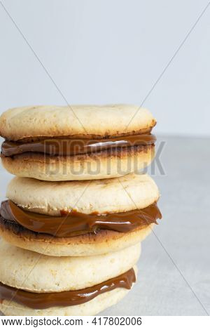 Alfahores Cookies With Condensed Milk. Traditional Homemade Biscuits. Homemade Food Concept. Vertica