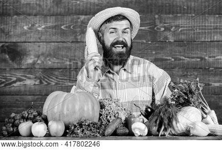 Farmer Presenting Organic Homegrown Vegetables. Grow Organic Crops. Community Gardens And Farms. Hea