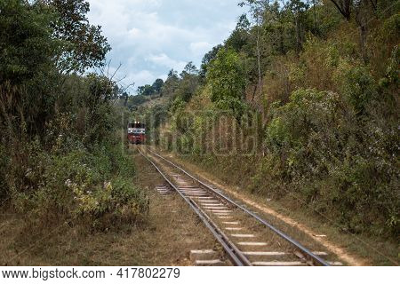 Shan State, Myanmar - January 5 2020: A Local Traditional Train Passing By While Hiking From Kalaw T