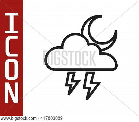 Black Line Storm Icon Isolated On White Background. Cloud With Lightning And Moon Sign. Weather Icon