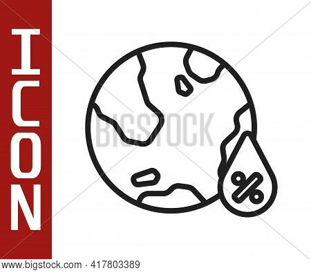 Black Line Water Drop Percentage Icon Isolated On White Background. Humidity Analysis. Vector