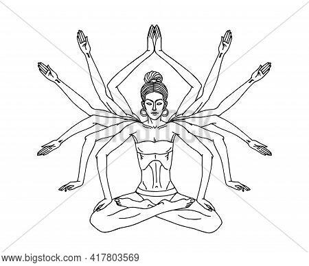 Cute Young Yogi Girl With Twelve Hands In Lotus Position Does Belly Vacuum And Muscle Wave, Vector I