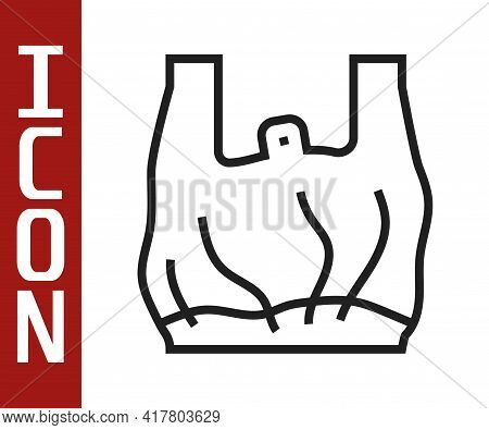 Black Line Say No To Plastic Bags Poster Icon Isolated On White Background. Disposable Cellophane An