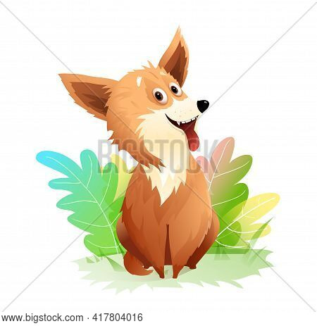 Adorable Puppy Dog With Tongue Sticking Out Sitting In Nature Outside, Funny And Fluffy Doggy With G