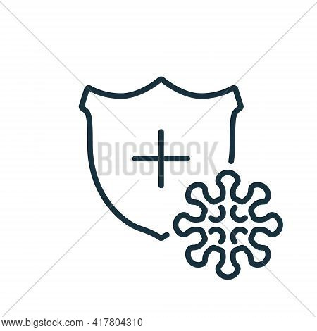 Immune System Concept With Medical Shield. Coronavirus Covid-19 Bacteria Line Icon. Shield Protect F