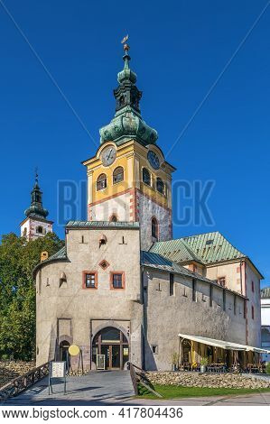 Banska Bystrica Town Castle With Clock Tower And Barbican, Slovakia