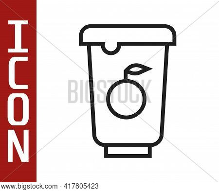 Black Line Yogurt Container Icon Isolated On White Background. Yogurt In Plastic Cup. Vector