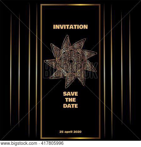 Vintage Gold Line Luxury Wedding Background