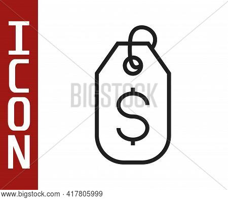 Black Line Price Tag With Dollar Icon Isolated On White Background. Badge For Price. Sale With Dolla