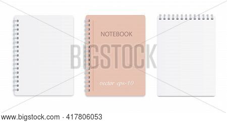 Set Of White Notepads.white Notebook On A White Background .paper Mocap For Inscription .business Di