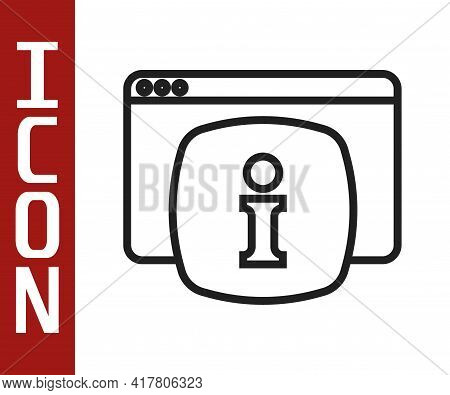Black Line Computer Monitor With Text Faq Information Icon Isolated On White Background. Frequently