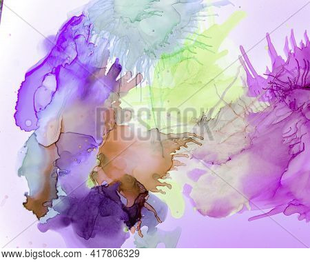 Ethereal Art Texture. Alcohol Ink Wave Wallpaper. Mauve Creative Oil Splash. Alcohol Inks Flow Desig