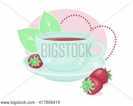 Cute Teacup With Fresh Strawberry And Decor. Cartoon Style. Vector Illustration. Isolated On White.