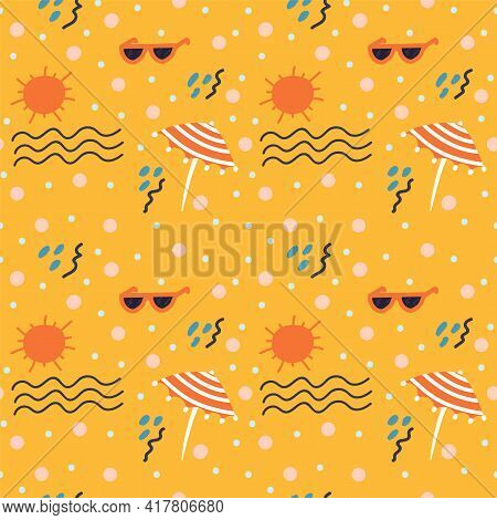 Beach Background For Travel. Cartoon Summer Pattern. The Concept Of Relaxing On The Beach With A Doo