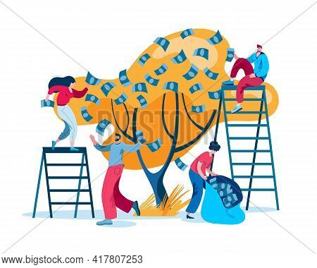 A Group Of Characters Collect Profits From The Money Tree. Concept Of A Vector Illustration On The T