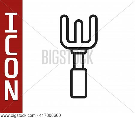 Black Line Garden Rake Icon Isolated On White Background. Tool For Horticulture, Agriculture, Farmin