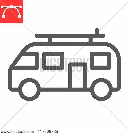 Surfer Van Line Icon, Vehicle And Beach, Summer Van Vector Icon, Vector Graphics, Editable Stroke Ou