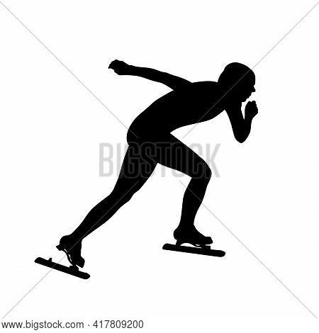Female Speed Skater Athlete Black Silhouette On White Background