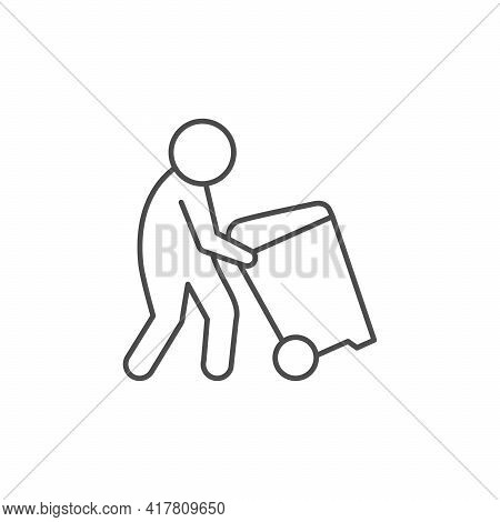 Man Moving Trash Can Line Icon Isolated On White