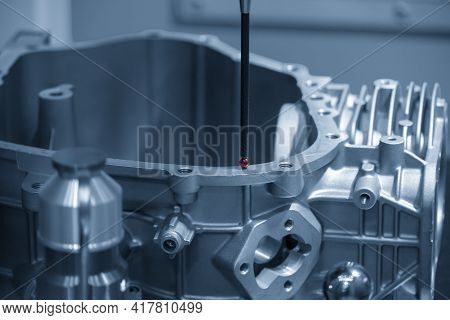 The Multi-axis Cmm Machine Checking The Aluminum Parts . The Quality Control Of Automotive Parts Wit