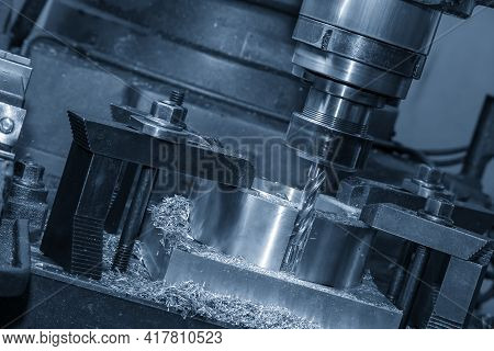 The Operation Of Nc Milling Machine Plunge Cutting The Metal Parts By Flat End Mill Type. The Shop F