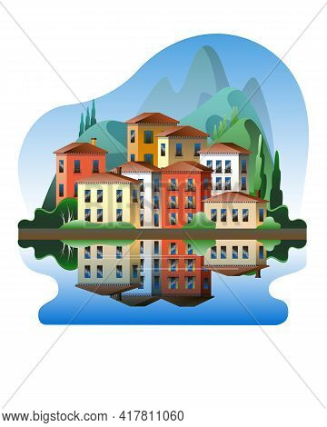 Colorful Mediterranean-style Houses Against The Backdrop Of Mountains On The Waterfront. Vector Illu