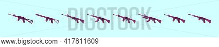 Set Of Gun Cartoon Icon Design Template With Various Models. Modern Vector Illustration Isolated On