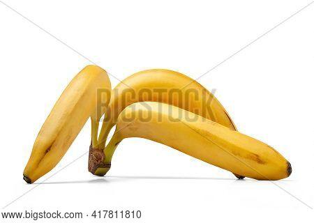Bananas Isolated On White Background. Ripe Bananas. Bunch Of Yellow Bananas Isolated On White. Exoti