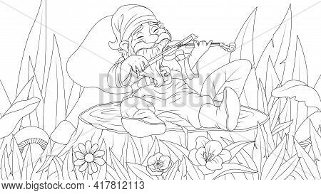 Vector Illustration, Fairy Tale Elf Footprints On A Tree Stump And Plays The Violin In Summer, Color