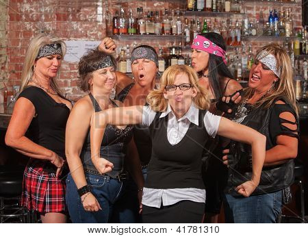 Female Gang Laughing At Funny Nerd