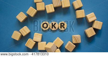Okr, Objectives And Key Results Symbol. Concept Words 'okr, Objectives And Key Results' On Circles O