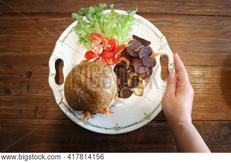 Burger, Hamburger Or Vegetable Burger For Serve
