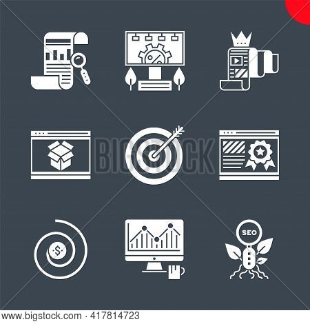 Seo Related Vector Glyph Icons Set. Report, Organic Seo, Monitoring, Return On Investment, Page Qual