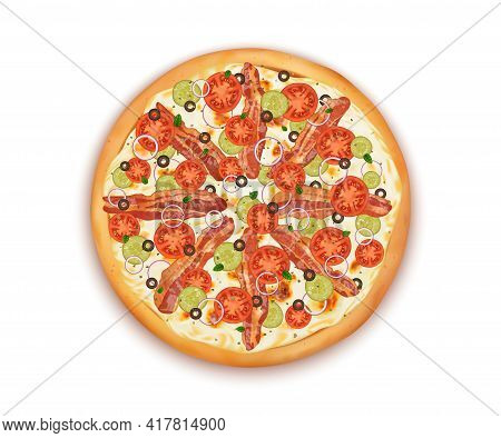 Realistic Detailed 3d Top View Of Delicious Pizza. Vector