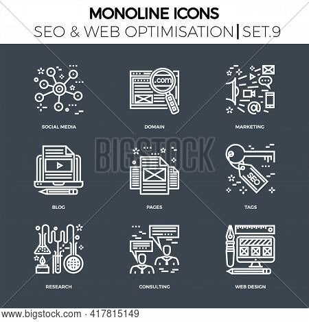 Line Icons Set With Flat Design Of Search Engine Optimization. Social Media, Domain, Marketing, Blog