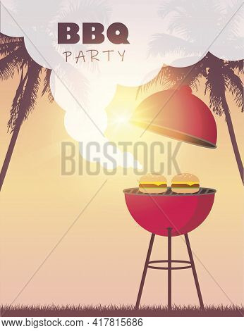 Summer Time Barbeque On Beautiful Palm Beach