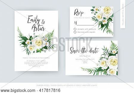 Elegant Vector Watercolor Floral Wedding Set: Invite, Rsvp, Save The Date Card Template. Yellow Whit