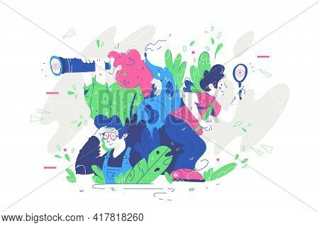 Group Of People Looking For Something Vector Illustration. Man And Woman In Search For Something Usi