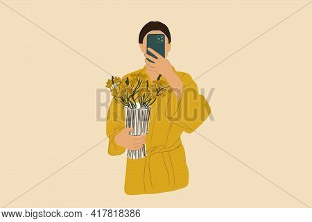 Woman Make A Selfie With Phone In Yellow Bathrobe Holding A Vase With Flowers . Vector Illustration