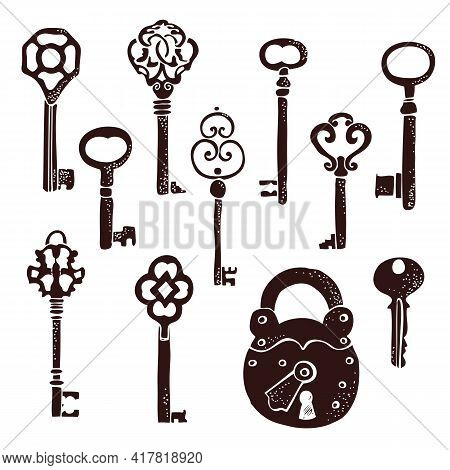 Keys Vintage Collection, Old Keys Vector Set With Decorative Elements In Retro Style