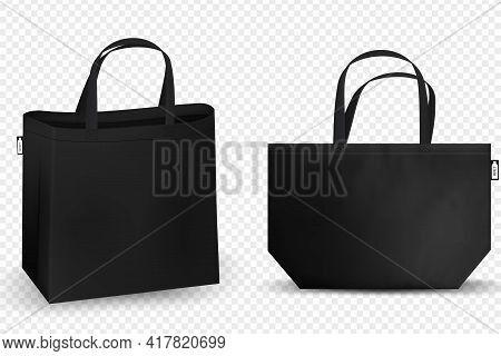 Shopping Rpet Bag Cotton, Black And White Tote Shopping Bags Identity Mock-up Items Template Transpa