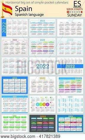 Spanish Horizontal Big Set Of Pocket Calendars For 2022 (two Thousand Twenty Two). Week Starts Sunda