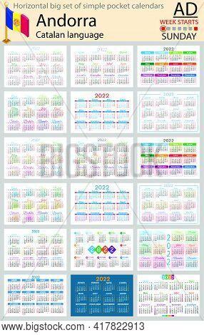Catalan Horizontal Big Set Of Pocket Calendars For 2022 (two Thousand Twenty Two). Week Starts Sunda