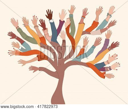 Group Of Hands Of Diverse And Multi-ethnic People.tree With Branches Made Of Human Hands And Arms.co