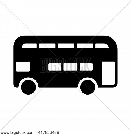 Double Decker Bus Flat Vector Glyph Icon. Graph Symbol For Travel And Tourism Web Site And Apps Desi